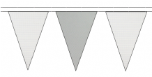 WHITE AND GREY TRIANGULAR BUNTING - 10m / 20m / 50m LENGTHS